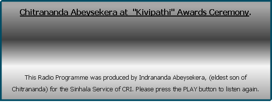 "Chitrananda Abeysekera at  ""Kivipathi"" Awards Ceremony. 